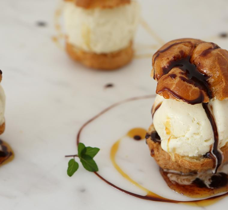 Profiteroles with Chocolate and Caramel